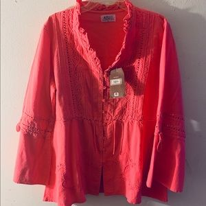 NWT Cotton Boho Top Bell Sleeves Cut Outs SZ XL